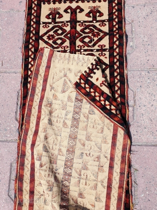Antique Turkmen Saryk or Tekke Tentband long fragment with silk highlights. Measures 450x34 cm (ca. 13.4x177 inches). Collectable piece in great condition with good age and design elements.