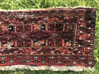 19th century Turkoman Saryk torba. Very finely woven. All natural saturated dyes. Soft like velvet. Cotton whites. Condition issues as shown including moth bites and reduced left side. Attractive kedjebe format, top  ...