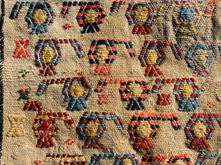 Qashqai spoon bag Boteh design 1880 circa With two small holes in the back of the bag size•••40x26cm