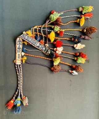 Fine Qashqai horse neck-band 1880 circa in very good condition white color all in cotton•••size85x5cm