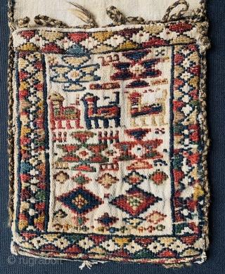 Shahsevan small khorjin 1870 circa in good condition•••size 62x19cm