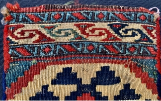 Shahsevan small bag (chanteh)1870 circa with two techniques kilim and sumak in very good condition•••size 25x20cm