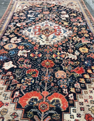 Lovely Qashqai Rug fragment 1870 circa some points have put back the knots on this rug,size~212x115cm