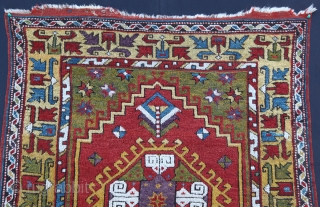 Rare Antique mid 19th C. Aksaray prayer Rug. Please feel free to ask any question you want to learn.