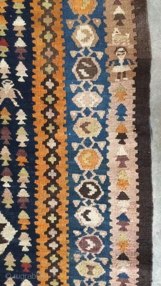 Northwest Persian kilim probably shahsavan of hashtrood,Size:355 x 114 cm