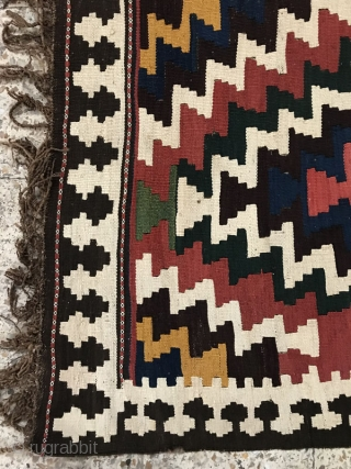 Antique shahsavan kilim based on wool foundation,size:335x155 cm