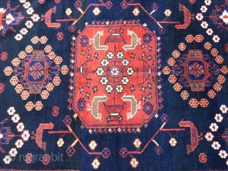 Baluch rug Size:245x145 cm,with good pile,both heads about 5 rajes had been reweaved,some small repaires in sides near to Selvages as shown in images