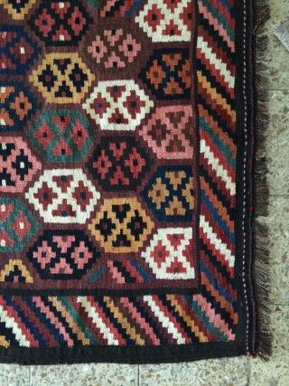 Bakhtiari kilim in fine condition from paradonbeh or sefid dasht villages.Size:370x123 cm