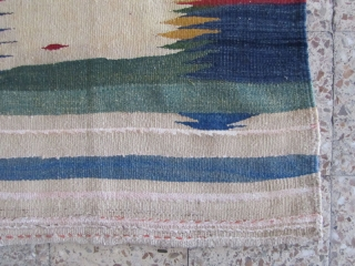 Kamu Sofreh,maymeh area,some repaires,wool frings,Size:111x90 cm