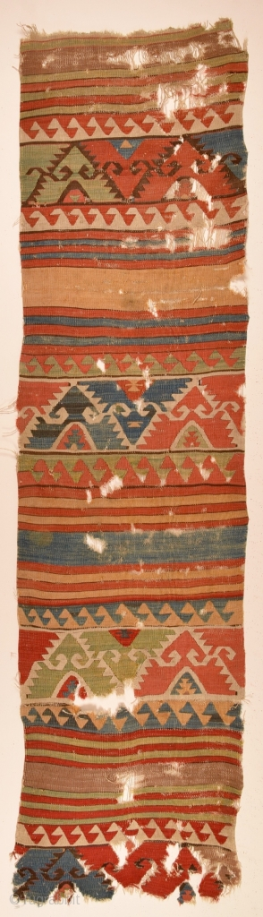 18th Century Anatolian Kilim size 73x290 cm