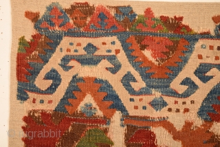18th Century Central Anatolian Kilim Fragment size 80x88 cm mounted on linen