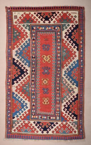 19th Century Colorful Caucasian Bordjalou Rug size 140x240 cm