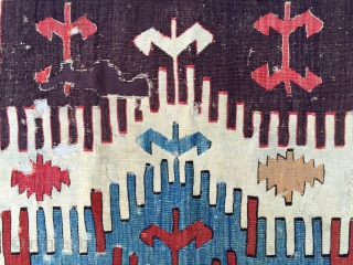 18th Century Central Anatolian Kilim Fragment size 65x117 cm mounted on linen