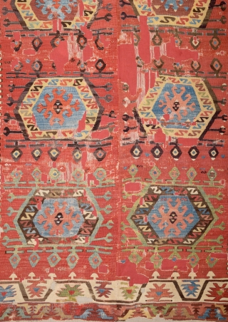 Central Anatolian Aksaray Kilim circa 1800 size 150x262 cm mounted on linen