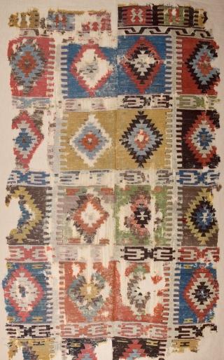 18th Century Unusual Central Anatolian Kilim mounted on linen 150x237 cm