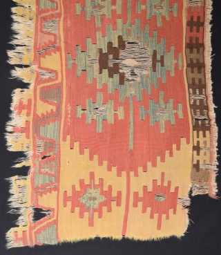 18th Century Central Anatolian Kilim Fragment size 70x122 cm mounted on linen