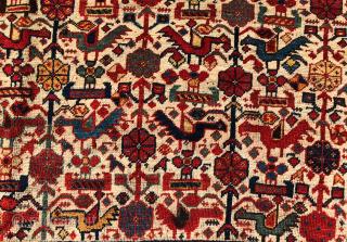 Lovely White Ground Persian Khamseh Rug circa 1870 size 165x270