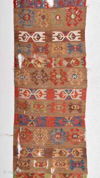 Colorful Anatolian Kilim 1800's size 80x375 cm