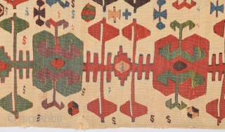 18th Century Central Anatolian Kilim size 74x354 cm