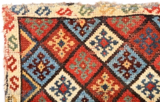 Early 19th Century Persian Bag size 44x53 cm Really old one and colorful. As found it. It seems Jaff but the back side looks Qashqai