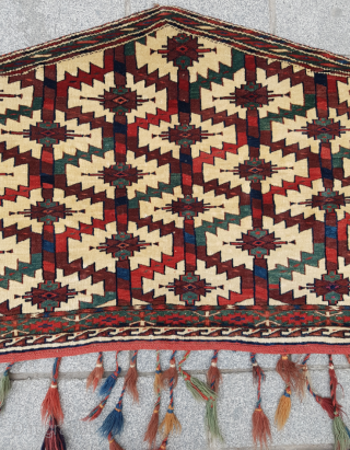 Turkmen Yomud Asmalyk circa 1860-70's size 70x124 cm Perfect condition and few silk knots