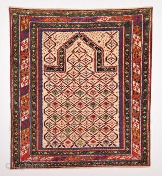 Very Fine Shirvan Prayer Rug circa 1870 size 117x130 cm Full pile