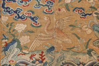 Rare Yellow Ground Chinese Rank Badge circa 1800 size 30x30 cm