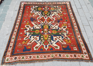 Colorful Eagle Kazak Rug circa 1870 size 165x175 cm