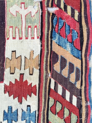 18th Century Konya Kilim Fragment size 65x117 cm Mounted on linen