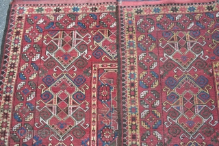 ca.1880 Beshir rug,,size:420x215 cm ,,13.8x7 ft ,..places knots and pile gone,orginal size,and no holes,,all natural colours,..
