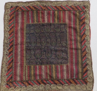 Antique Persian Qajar period Textile with gold and silver thread,size 56x58cm
