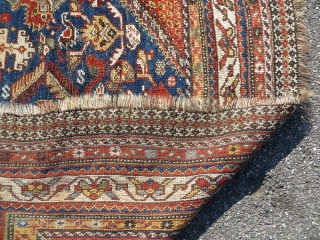 qashqai rug 1880 circa,good connection no repair all natural colors,size 210x140cm