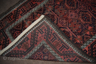Old Baluch rug with tree of life design, 98 x 197 cm, traces of wear, oxidation