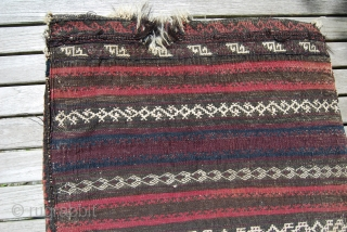 Old Baluch Balisht, complete with finely woven back side but with some condition issues, 47 x 85 cm, natural colours
