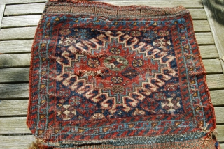 Old Khamseh bag fragment, opened, 51 x 88 cm, condition issues, needs a wash