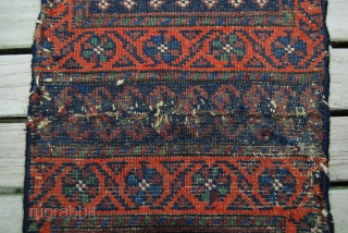 Two old Baluch chanteh fragments, sewn together and with new selvedges, 46 x 21 cm