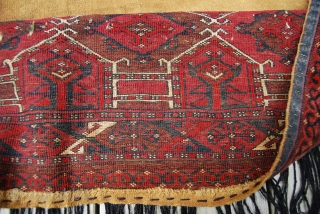 Turkmen (Saryk?) torba with Kejebe design, complete with back and fringe, 44 x 125 cm (+ fringe 35 cm), rather good condition