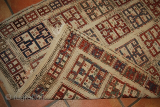Antique Shasavan/Caucasian/Azerbaijan verneh, 19th c., 105 x 161 cm, condition issues, wear, damages, holes