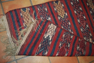 Old Yomud kilim, 80 x 115 cm (without fringes), slight wear at two places but complete and rather good condition