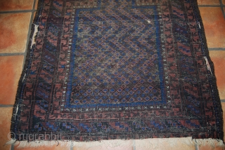 Antique Baluch/timuri prayer rug, 92 x 115 cm, condition issues, thin, wear, damages
