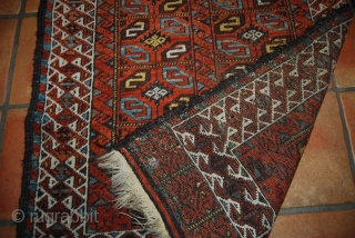 Old baluch double niche prayer rug, 88 x 171 cm, traces of use, but complete with rather good condition, very colourful