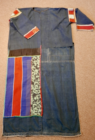 Early 20th c.  Lisu Tribal Woman's Dress and Wrap of an upper-class Lisu lady of Northern Burma(Myanmar); good condition but for a missing rear panel.  Hand-loomed cotton with natural indigo  ...