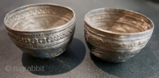 Antique Burmese Silver Cups;  possibly Buddhist ceremonial;  18th-19th c,  or older -  perhaps excavated by locals;  incredibly charming and dainty,  with a deep patina.  1  ...