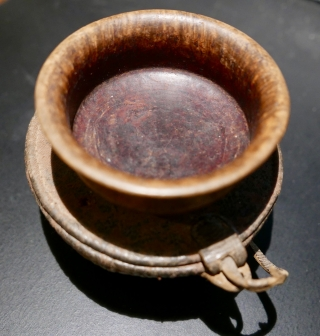 Late 19th c Tibetan tea bowl,  called 'Jha-phor' or 'par-pa,  with accompanying cloth and wicker carrying case.  The wood is exotic and as light as a feather,  and  ...