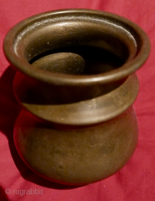 "Lovely antique S Indian brass holy water vessel;  excellent condition with a warm patina; 4 3/4""H x 4""W.  Acquired late last century in Pondicherry,  S India."