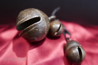 Antique Cow and Goat Bells from Laos;  brass;  19th c. Lovely brass bells with a wonderful patina and satin-like surface proving their age and much handling.  19th c.  Acquired  ...