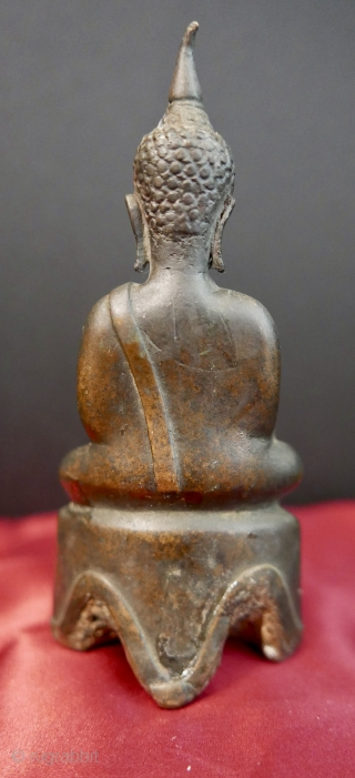 "Antique Buddha;  Bhumisparsha mudra pose;  Ayutthaya period;  Thailand;  bronze;  16th c.;  5""H  SOLD Thank you."