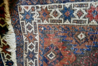 """Lovely,  exciting 19th c Mushwani bag face;  very good condition;  tiny moth nibble seen in photo #6.  24"""" x 24""""  SOLD Thank you."""