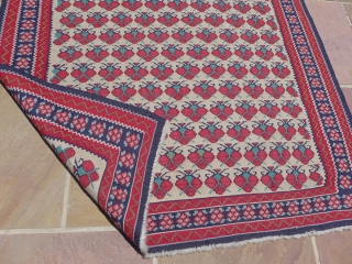"A nice 3'6"" by 5' kilim of unknown origin. Perhaps Bidjar, Senneh or Balkan.  Clean and nicely made. All wool."