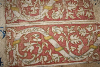 medieval silk application on linen 100x160cm